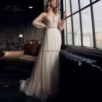 adln two pieces wedding dresses with pearls puffed sleeves 2021 bridal gown robe de mariage plus size bride dress