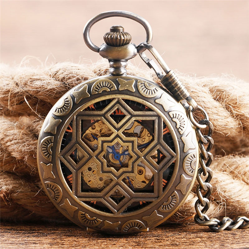 Antique Pocket Watch Retro Handwind Mechanical Watches for Men Women Roman Number Dial with Pendant Chain Clock Reloj Gift