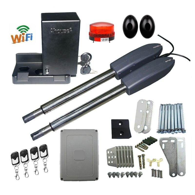 400kg automatic double arm swing door opener mobile phone WiFi control to open castle door automatic heavy worm gear gate opener