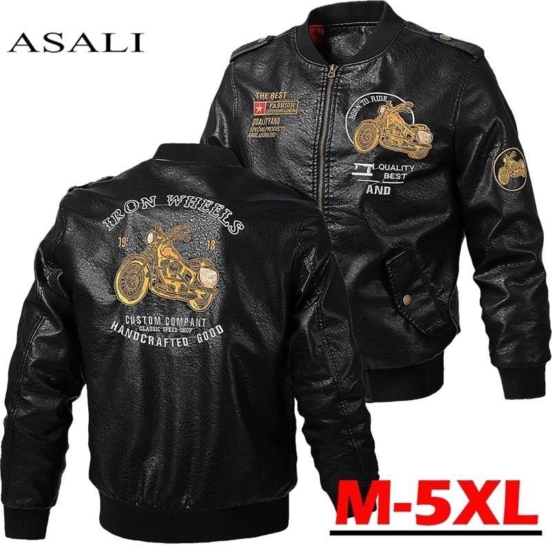 Male Leather Jacket Slim Fit Coat Men Stand Collar jaqueta PU Coats Biker Jackets Casual Motorcycle Faux Fur S-5XL Jacket Fleece