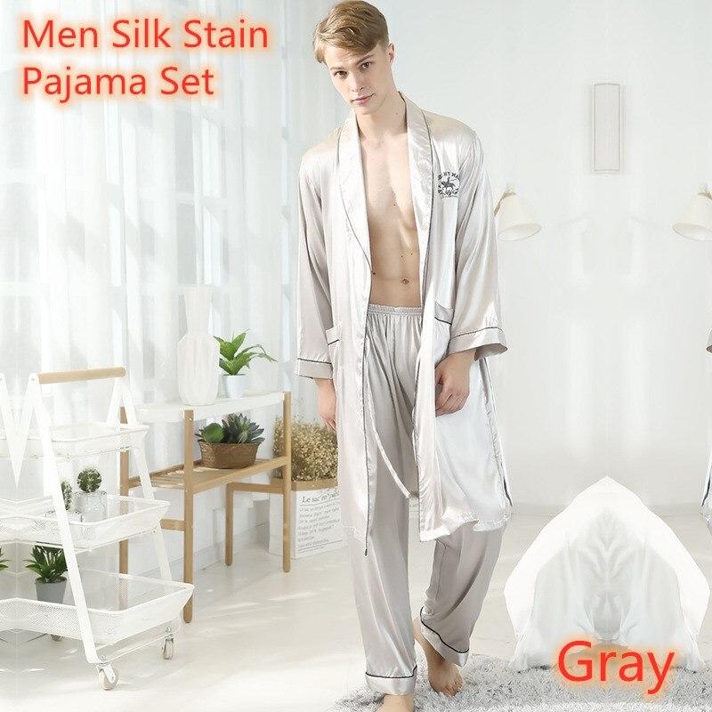 Мужские халаты, комплекты, мужские пижамы, пикантные брюки с длинным рукавом, серые, темно-синие, бордовые, ночные платья