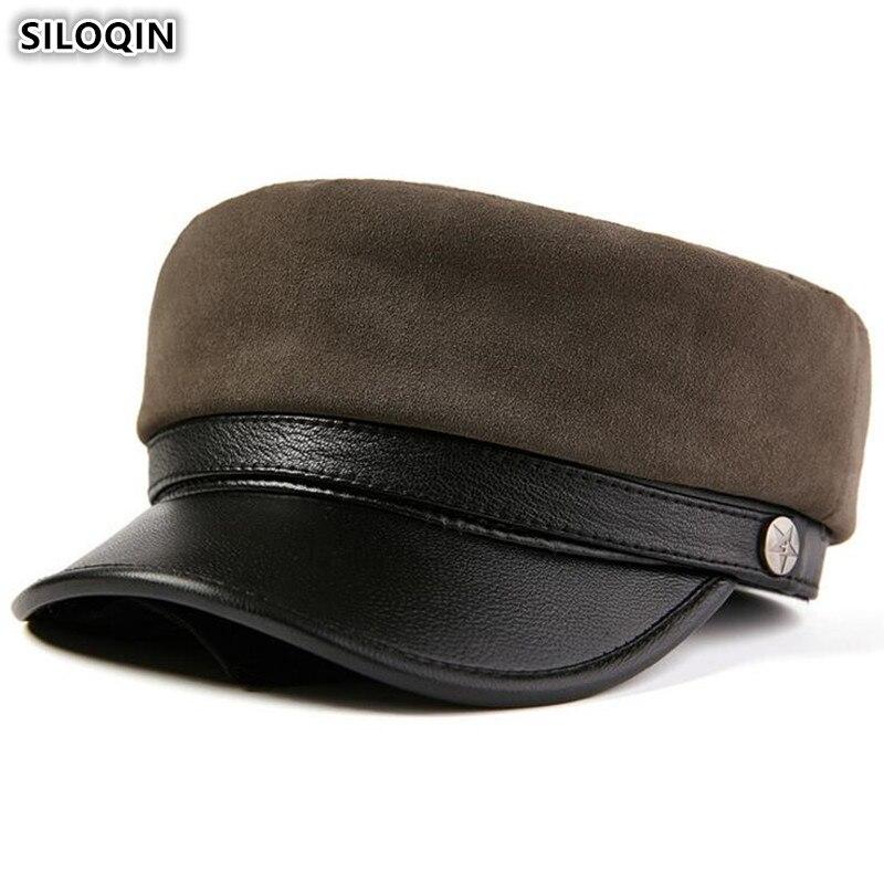 SILOQIN-قبعة مسطحة من الجلد الطبيعي للرجال والنساء ، قبعة عسكرية أنيقة ، جلد الغنم ، للأزواج ، الخريف