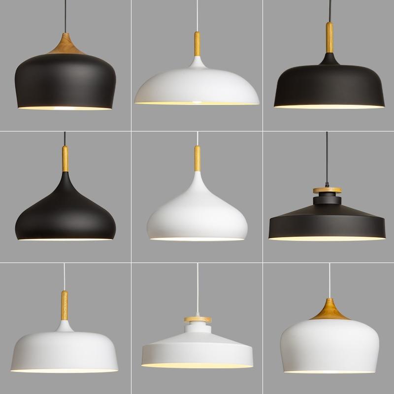 Купить с кэшбэком Modern hanging ceiling lamps  Wood aluminium E27 Pendant lights, House dining room decoration lighting