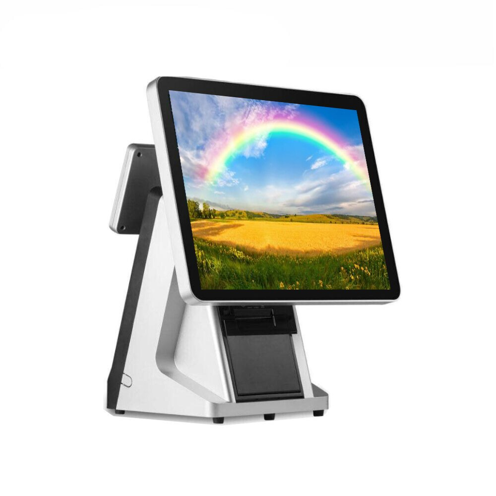 Terminal POS 15 pulgadas pantalla táctil capacitiva sistema de punto de venta con impresora incorporada de 80mm para tienda de ordenador