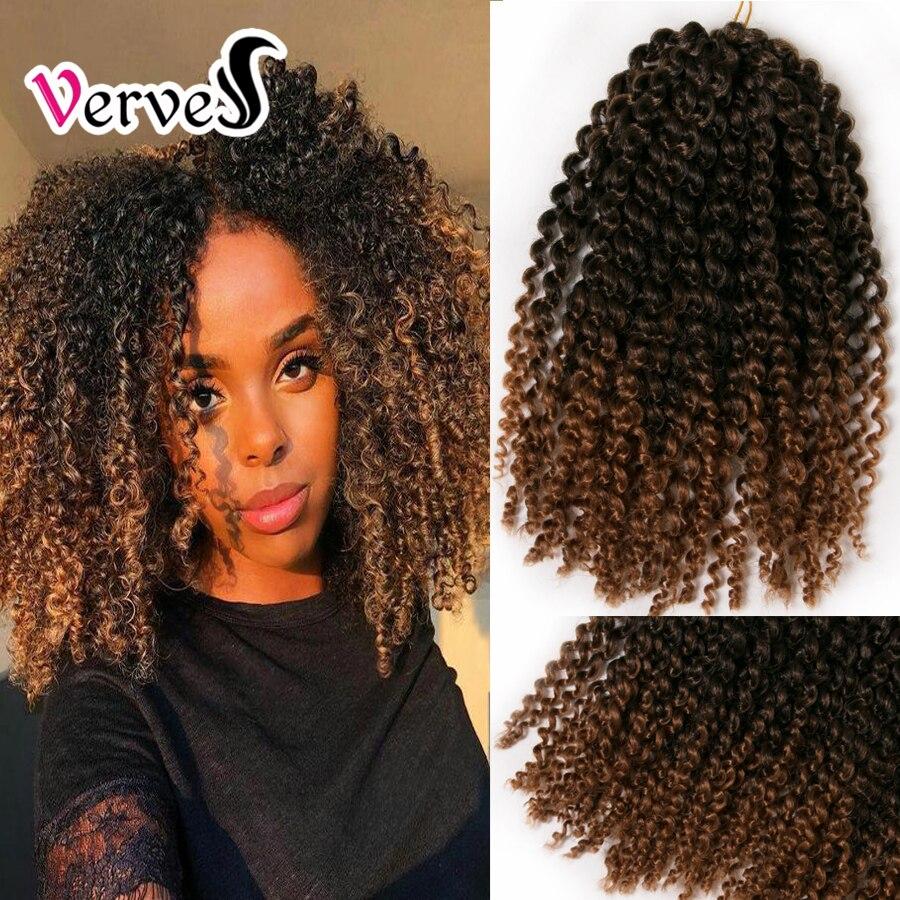 VERVES Crochet trenza pelo 60g/paquete sintético 12 pulgadas rizado trenza color degradado trenzado extensiones de cabello Borgoña rubia negro