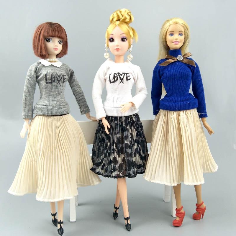 3 ensembles/lot mode poupée vêtements haut Blouses & mousseline de soie plissée jupe Midi pour Barbie poupées vêtements 1/6 poupées accessoires enfant jouet
