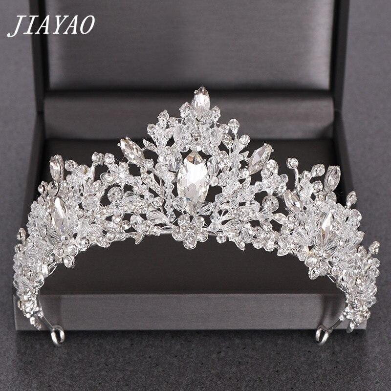 Ślubna kryształowa tiara korony ślubne akcesoria do włosów Rhinestone Crystal opaska tiara dla księżniczki panny młodej z pałąkiem na głowę