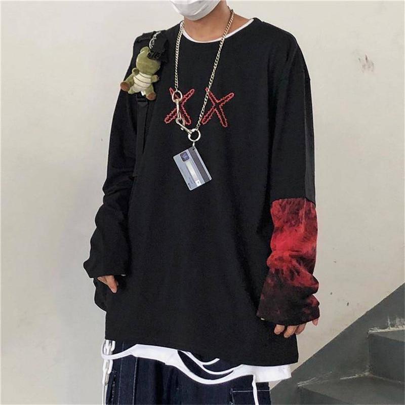 Hip Hop camisetas de manga larga de hombre cuello redondo Punk Patchwork camiseta hombres moda Casual Hip Hop camisetas hombres primavera otoño camisas de niño