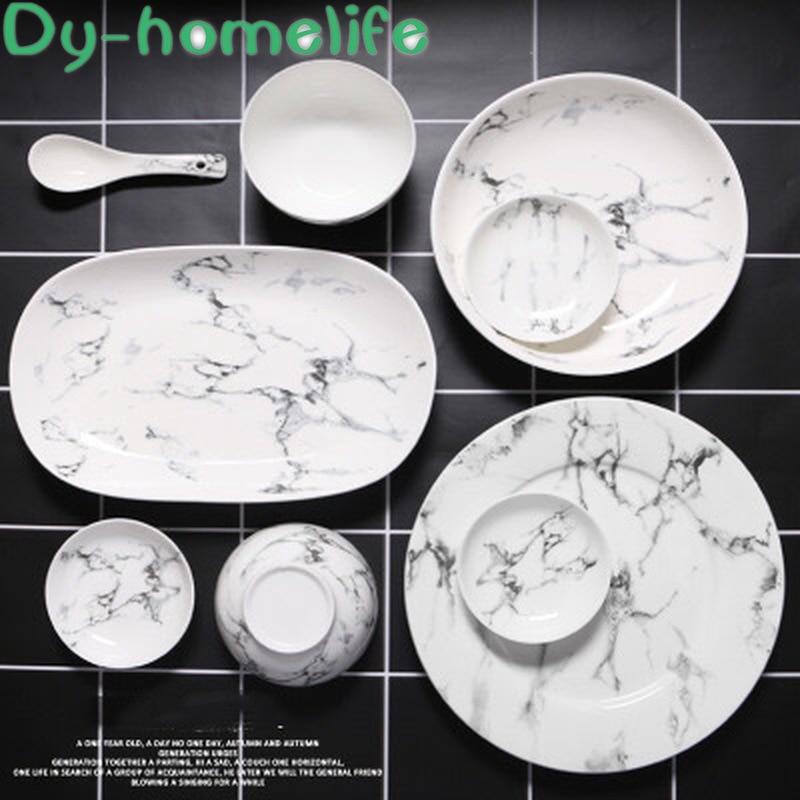 Juego de vajilla de cerámica con diseño de mármol de varios tamaños, suministros para la cocina del hogar, plato, tazón, olla, cuchara, cuchara, plato, suministros para hoteles