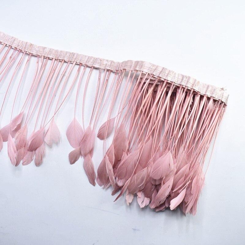 2 ярдов/партия кожаный розовый натуральный Полосатый чехол с перьями из хвоста петуха ширина отделки 10-15 см шитье декоративные перья для под...