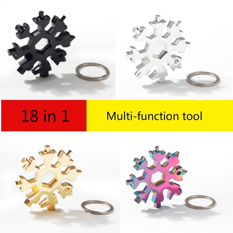 18 In 1 Snowflake Snow Wrench Tool Spanner Hex Wrench Multifunction Camping Outdoor Survive Tools Bottle Opener Screwdriver 1pc multifunction faucet sink installer wrench extra long wrench anti slip handle spanner installer tools