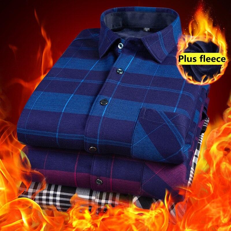 Мужские топы, брендовые рубашки, мужская осенне-зимняя новая модная деловая Повседневная хлопковая бархатная теплая клетчатая рубашка с дл...