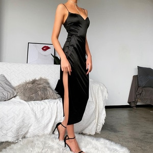 Linglewei New Spring and Summer Women's Dress Solid Sexy & Club Slim easy matching Elegant Spaghetti Strap Zippers V-Neck dress