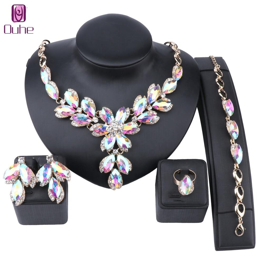 Moda AB gema cristal gargantilla Collar para mujer declaración collares pendiente pulsera anillo Collar Boho conjuntos de joyería