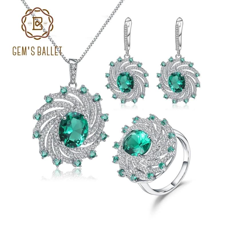 GEM'S باليه-طقم مجوهرات عتيق للنساء ، طقم مجوهرات من الفضة الإسترليني عيار 925 ، أقراط ، قلادات ، مجوهرات فاخرة