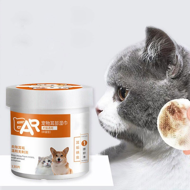 130 unidades/pacote pet grooming toalhetes almofada de limpeza de orelha hipoalergênica para cães gatos eliminador de odor desodorizando toalhetes de cão