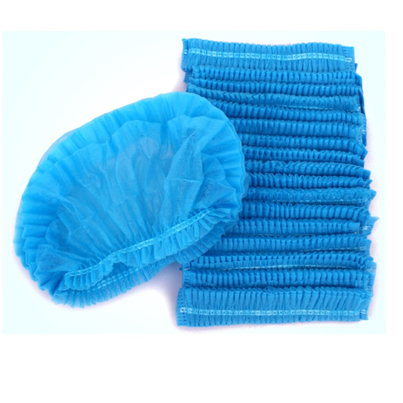 10PCS Non-woven Disposable Shower Caps Pleated Anti Dust Hat Women Men Bath Caps for Spa Hair Salon