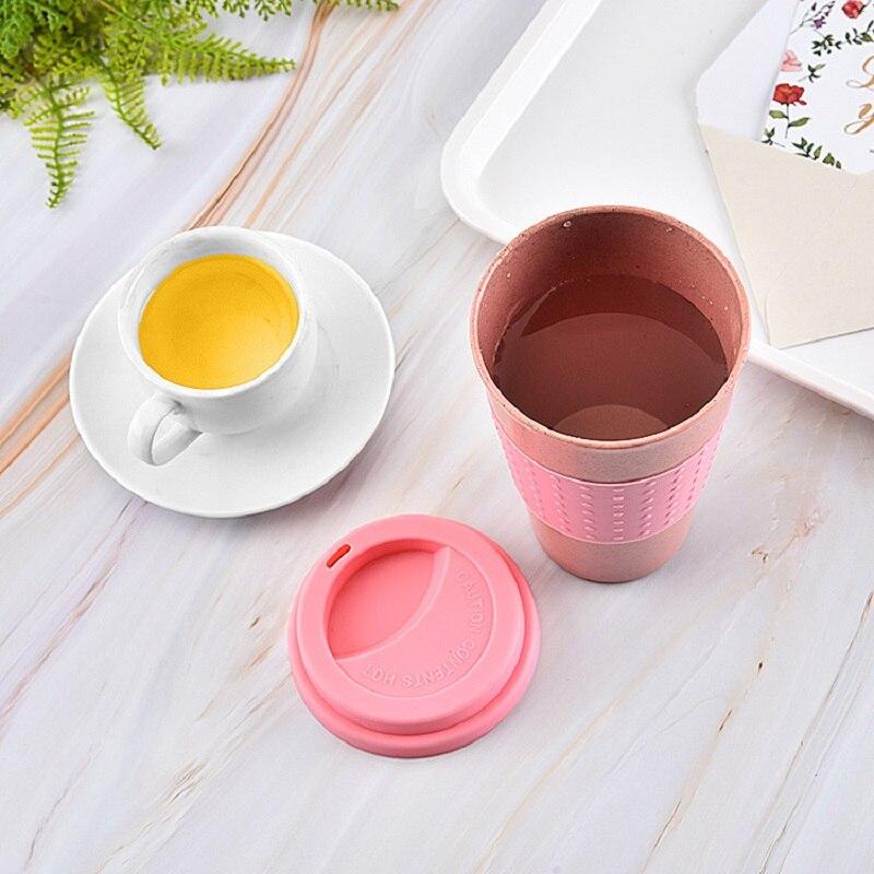 Taza con pajita de trigo de 350ml para oficina con tapa para botella de agua vaso de zumo de té taza de silicona cubierta de protección del medio ambiente Anti-caída
