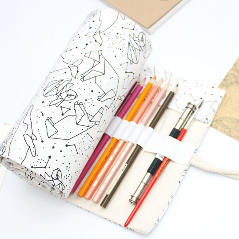 36/48/72 Holes Box School Pen Bag Big Capacity Brush Pencil Case Roll Starry Sky Sketch Canvas Pouch