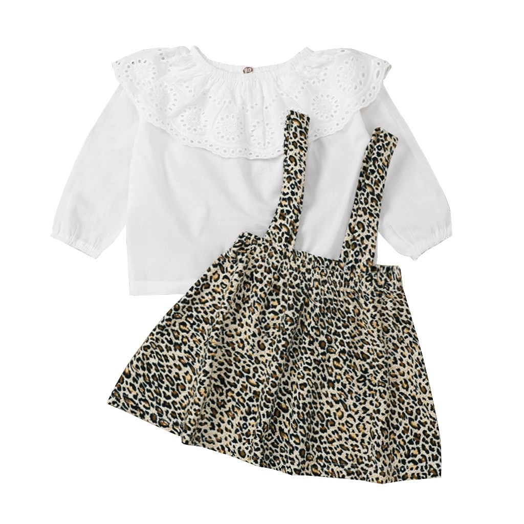 infant baby girls autumn spring solid ruched tops blouses leopard strap dress toddler costume casual