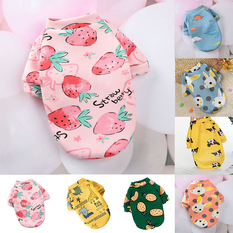 Cartoon Print Cute Pet Clothes for Small Dogs Cats Plus Velvet Chihuahua Clothes Puppy Cat Hoodies Winter Dog Jacket Coat 2021