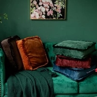 2021 solid velvet tassel cushion cushion pouf throw sofa soft seat cushion square pillow thickening multifunctional for home