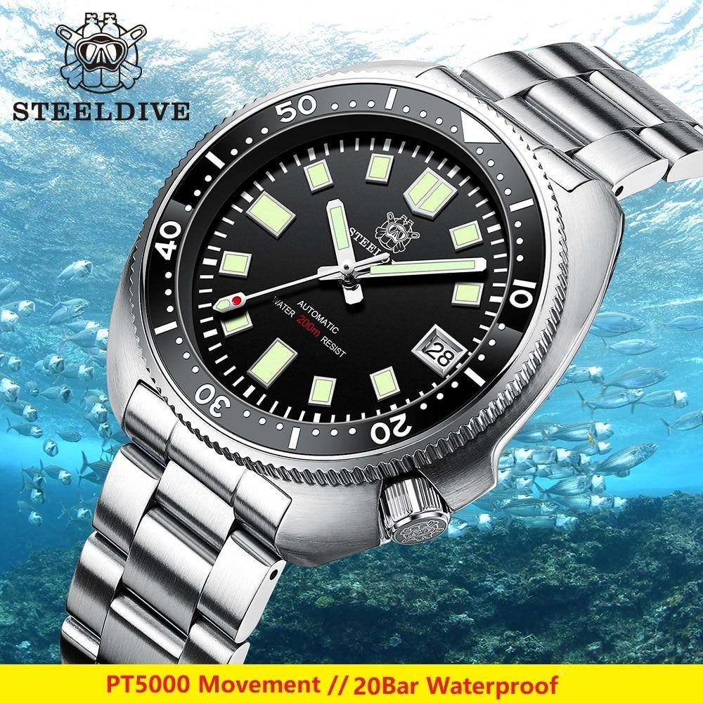 PT5000 حركة الغوص الرجال ساعة 200 متر مقاومة للماء الياقوت كوب سيراميك الحافة steelالغوص SD1970 ساعة رجالي 2021 النسخة الجديدة