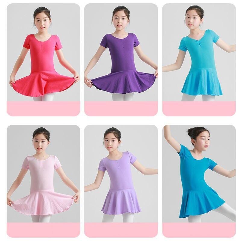 Verano niñas tutú medias de ballet bailarina leotardo ballet niños vestido princesa gimnasia manga corta Ropa de baile turnpakje
