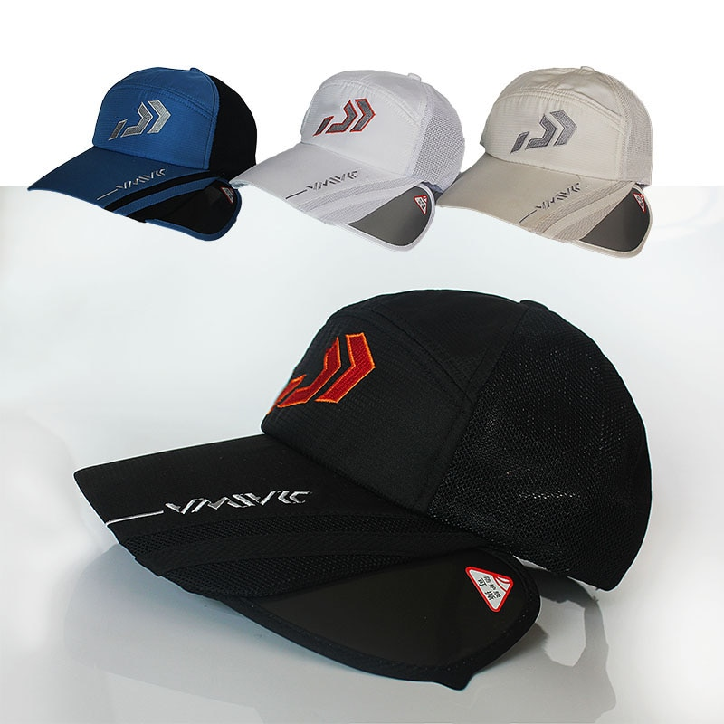 2020 Daiwa Summer Sun Protection Fishing Hat Breathable Outdoor Sports Hat Dawa Fishing Cap with Big Brim Fishing Apparel