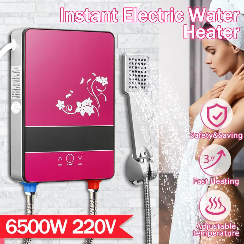 6500W 220V Electric Hot Water Heater Tankless Instant Heating Set Bathroom Self-checking Automatically Safety With Shower Nozzle