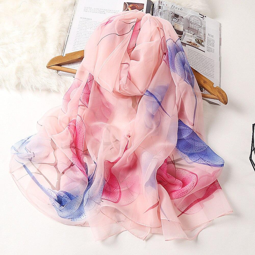 Fashion Flower Printing Chiffon Scarves Silk Scarf Women 180*90cm Large Long Soft Sunscreen Scarf Scarves Wrap Beach Shawl недорого