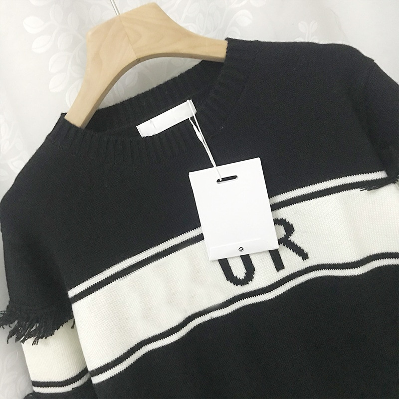 2021 Autumn And Winter Women's New Striped Contrast Color Letters Tassel Pullover Round Neck Long-Sleeved Sweater Women enlarge