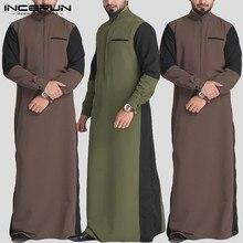 Incerun outono casual homens, gola de retalho, manga comprida, kaftan, robe, streetwear, abaya, jubba, thobe