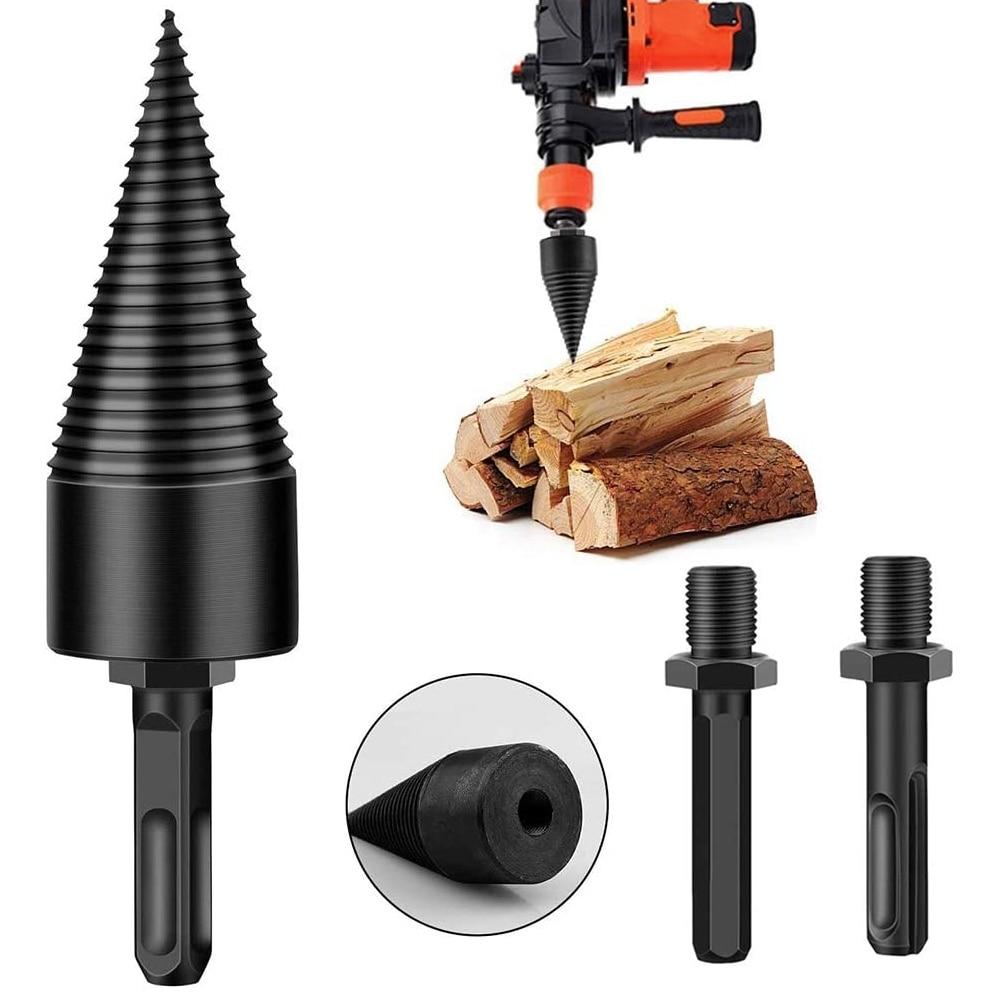 32/42mm Wood Chopping Drill Round Square Hex Shank High Carbon Steel Drill Bit Firewood Splitter Machine Drill Woodworking Tools
