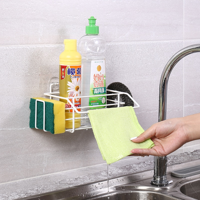 اكسسوارات المطبخ لكمة خالية استنزاف سلة الإسفنج حامل بهارات المطبخ مشبك مناشف التوابل المنظم اكسسوارات الحمام