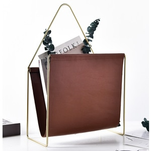 Iron metal frame leather metal frame floor newspaper magazine storage rack with clear texture creative handle
