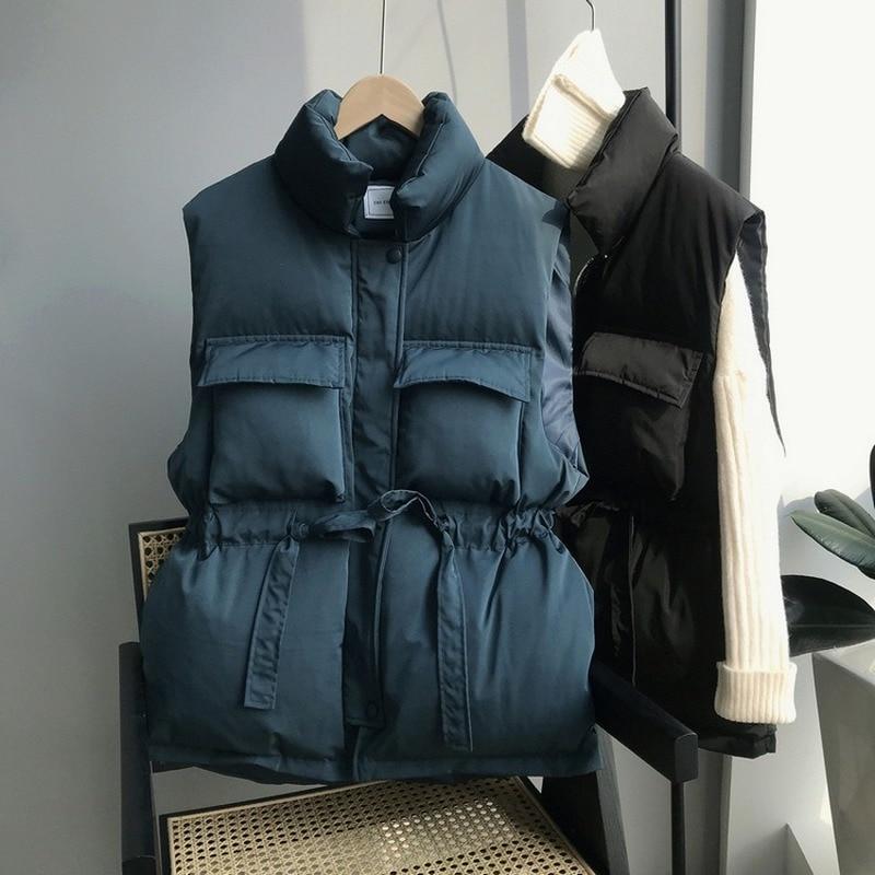 Женский утепленный жилет, зимний и весенний хлопковый жилет с длинной талией, свободного покроя, утепленный пуховик в Корейском стиле, 2021