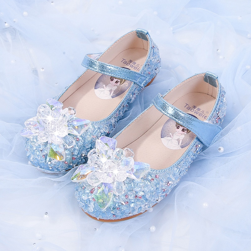 Girl Princess Shoes 2020 New Spring/Autumn Aisha leather soft-soled Korean version of Crystal Aisha children's leather shoes.