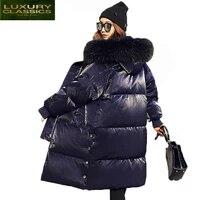 hot sale casual 2021 parkas winter coat for women duck down jacket warm thick long raccoon fur collar overcoat lx1264