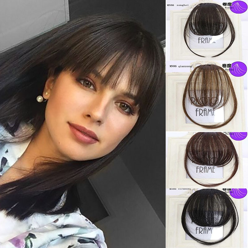 LVHAN Air Bangs Pure Bangs Hair Extension Synthetic Wig Natural Black Light Brown Dark Brown Black H