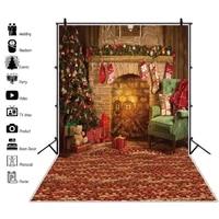 christmas backdrop fireplace vintage room baby portrait photography background photozone vinyl photophones for photos shoot prop