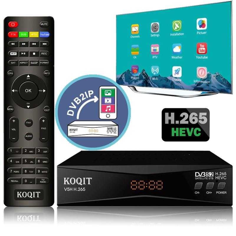 Koqit V5H H.265 HEVC DVB S2 Satellite Receiver Mirror Receptor DVB-S2 Satellite TV Receiver IPTV Decoder Wifi CS Biss/vu Meecast