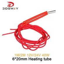 3dsway-pièces dimprimante 3D, radiateur 12V/24V, 40W, tube de chauffage 6x20mm, 1M, 2 M, à une extrémité
