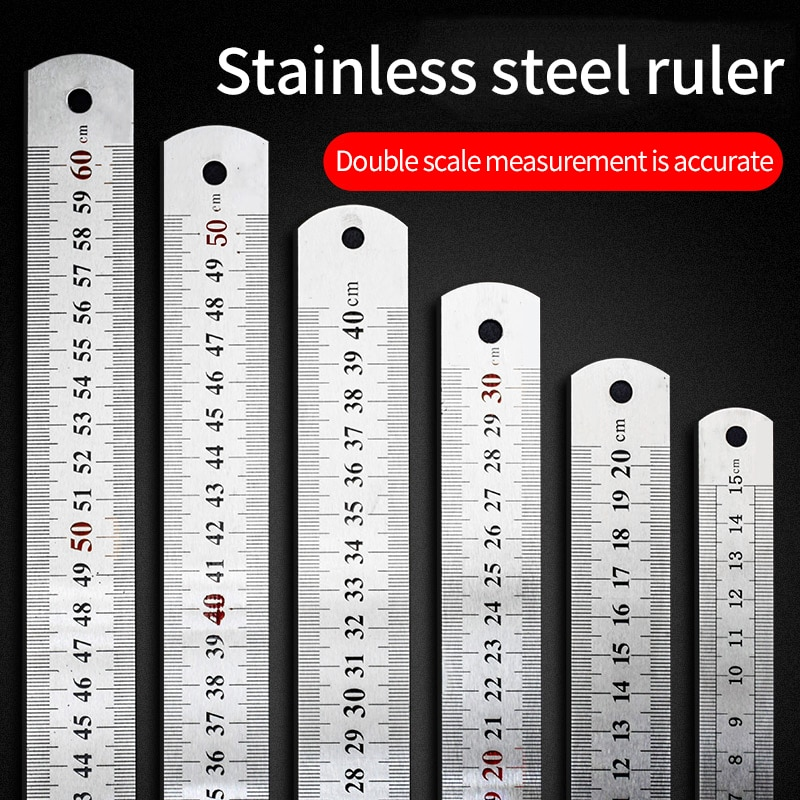 Stainless steel ruler 20 cm thick long steel ruler 15cm30cm40cm50cm sewing engineering ruler student stationery school supplies stainless steel ruler junior high school physics and mathematics teaching instrument