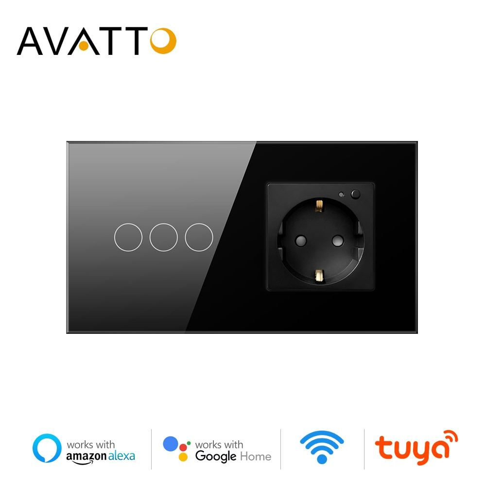 AVATTO تويا WiFi ضوء التبديل + 16A الذكية مقبس الحائط كومبو ، الحياة الذكية APP التحكم Remore WiFi المقبس العمل مع اليكسا ، جوجل المنزل