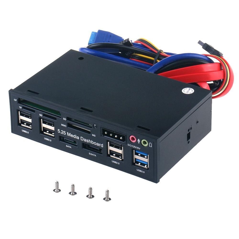 ESATA-قارئ بطاقة USB 3.0 متعدد الوظائف ، واجهة SATA ، واجهة وسائط الكمبيوتر ، اللوحة الأمامية ، الصوت لبطاقات الذاكرة SD MS CF TF M2 MMC