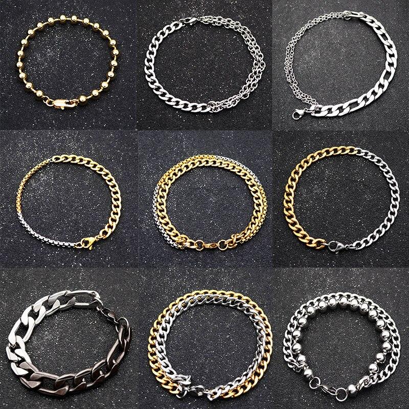 Onlysda motocicleta Mens Cadeia Pulseira de Aço Inoxidável Polido Prata Ouro Negro Bicicleta Chains Pulseira para Homens Ligação Cubano