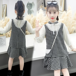 Lace Patchwork Baby Girls Plaid Dresses Cute Long Sleeve Kids Bow Princess Dresses Fashion Children Clothes for 6 8 10 12 Years