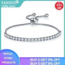 Fine Charm Bracelets For Women Real 925 Sterling Silver White CZ Beads Link Tennis Bracelet With Box Chain Adjustable HB76