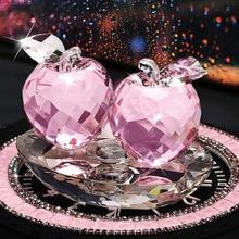 3 Colors High-end K9 Creative Crystal Apple Car interior Decor Ornaments Car perfume seat l Adornment Supplies Ladies Favor Gift